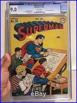 Superman Comic Book #25 CGC Excellent Condition 9.0 Gorgeous Copy