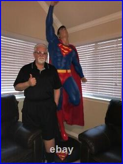 Superman Life size Statue taking off with cape and base new in the box 7 ft