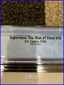 Superman The Man of Steel #18 SUPER RARE Fifth Printing Variant CGC 9.8 DC Logo