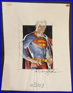 Superman Watercolor Commission Signed art by J. G. Jones