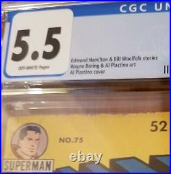 Superman comic #75 CGC 5.5 1952 Golden Age DC Comics Prankster off white pages