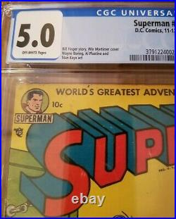 Superman comic #85 CGC 5.0 1953 Golden Age DC Comics Luthor off white pages
