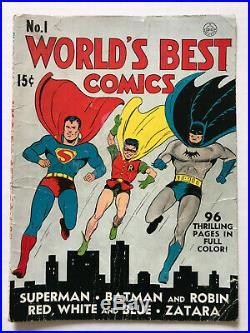 VINTAGE 1941 World's Best Comics #1 FULL COVER ONLY Superman Batman finest