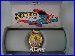 VINTAGE 1966 BRADLEY SUPERMAN No. 105 WRIST WATCH SWISS MADE WithCASE DC COMICS