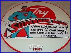 Vintage 1941 Superman Bread 11 3/4 Porcelain Metal Comic Book Gasoline Oil Sign