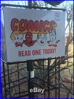 Vintage Comic Book Super Hero Spinner Rack Display Man Cave Spider-Man Superman