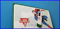 Vintage Conoco N-tane Superman Gasoline Porcelain Comic Book Service Pump Sign