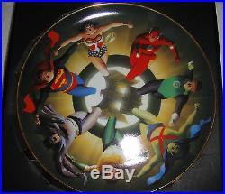 WARNER JUSTICE LEAGUE Collector's Plate SUPERMAN BATMAN JLA by ALEX ROSS statue