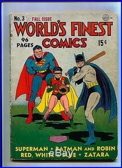 World's Finest #3 SCARCE DC Comics AMAZING 1st Scarecrow Batman Superman Gold
