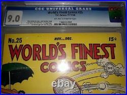 World's Finest Comics #25 (1946) CGC 9.0 (VF/NM) Golden Age Batman Superman