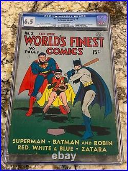 World's Finest Comics #3 Cgc 6.5 1st Scarecrow Sandman Begins Batman Superman CV