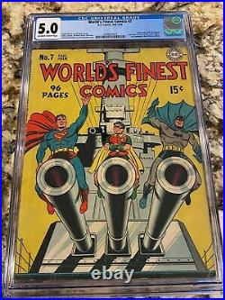 World's Finest Comics #7 Cgc 5.0 Ow-w Pg Iconic Superman Batman Robin Wwii Cover