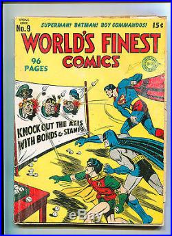 World's Finest Comics #9 Classic Hitler Axis Cover Superman Batman Golden Age