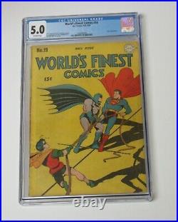 Worlds Finest #19 CGC 5.00 Batman Superman 1945 Golden Age Joker story Rare