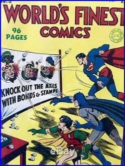 Worlds Finest Comics No. 9 CGC 6.0 1943 Superman Batman Golden Age Hitler Cover